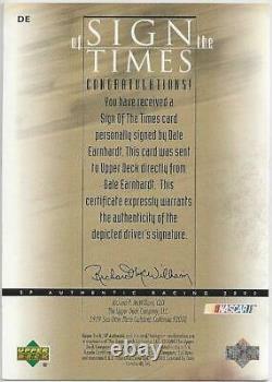 2000 Upper Deck SP Authentic Sign Of The Times Dale Earnhardt Sr. Autograph Card