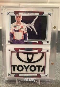 2020 National Treasures Racing Booklet Denny Hamlin 1/1 Jordan Logoman Toyota