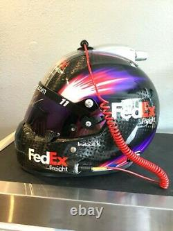 Denny Hamlin, 2013 Signed Race Used, Cup Series, Stilo Helmet. Full Radio &hans
