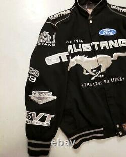 Ford Mustang Nascar Racing Cotton Twill Jacket Black JH Design Adult Sz XL NICE