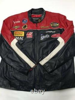 Mens WILSONS Black/Red Patched Race Racing Leather Jacket Sz 2XL Nascar