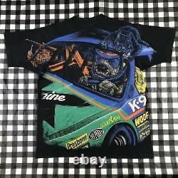 Nascar K9 Dog Racing Crazy Cats All Over Print 90s Vintage Single Stitch T Shirt