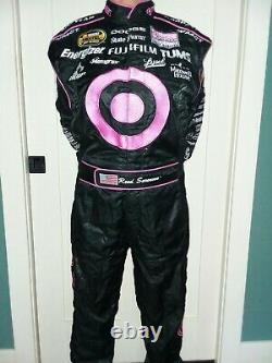 Race used Reed Sorenson Autographed Target Ganassi Racing Komen Nascar Firesuit