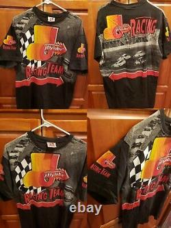 VTG 90s Nascar T Shirt All Over Print Jiffy Lube Racing Team Tee XL Winners Race