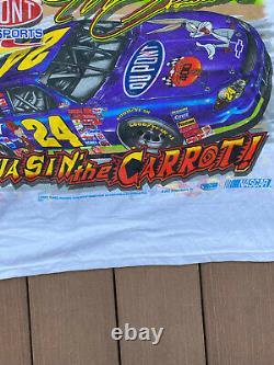 VTG Y2K NASCAR #24 Jeff GORDON Looney Tunes Racing All Over Print T Shirt L XL