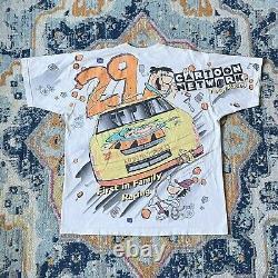 Vintage 1996 Flintstones Wacky Racing Shirt Cartoon Disney NASCAR Large XLarge
