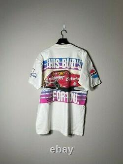 Vintage 90s Budweiser Nascar Horse Power Bill Elliott Racing All Over Shirt XL