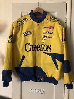 Vintage 90s Cheerios Racing Jacket Mens NASCAR JH Design XL Johnny Benson #26