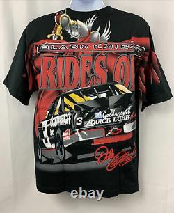 Vintage 90s Dale Earnhardt Sr Nascar Racing Black Knight All Over Print Shirt L