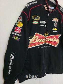 Vintage NASCAR Kevin Harvick Racing Jacket JH Design Black Budweiser Mens 2XL