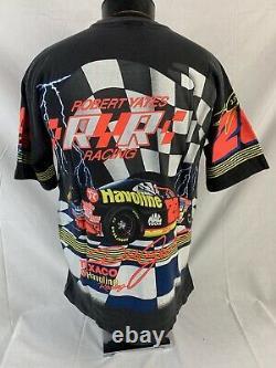 Vintage NASCAR T Shirt All Over Print Dale Jarrett Racing Tee USA Large 90s