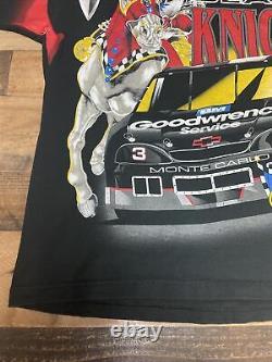 Vintage VTG 90s AOP Dale Earnhardt Shirt T-Shirt NASCAR Racing Black Knight XL