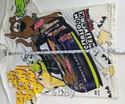 Vtg Nascar x Scooby Doo Men's M Medium Cartoon Racing T Shirt All Over Vintage
