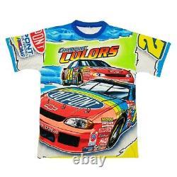 Vtg Rare NASCAR Jeff Gordon Dupont Racing All Over Print T Shirt. Mens Medium