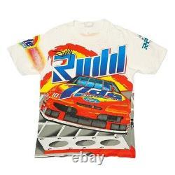 Vtg Rare NASCAR Ricky Rudd Tide Racing All Over Print T Shirt. Mens Medium