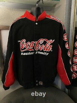 Coca-cola Classic Nascar Jacket Red Black White Mens Taille 3xl Racing Family