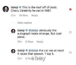 Dale Earnhardt Sr 1987 Chevy Celebrity Race A Utilisé Panneau De Toit Nascar Tôle