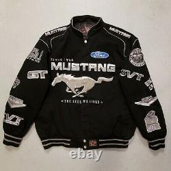 Ford Mustang Nascar Racing Cotton Twill Jacket Black Jh Design Adulte Sz XL Nice