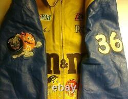 Jaune Veste En Cuir Vintage Design Nascar Ken Schrader M&m's Racing Large