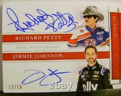 Jimmie Johnson Richard Petty Dual Auto #12 /15 Nascar Panini Trésors Nationaux