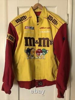 Vintage 90s M&m Nascar Racing Jacket Yellow Red Ernie Irvan Mens XL #36