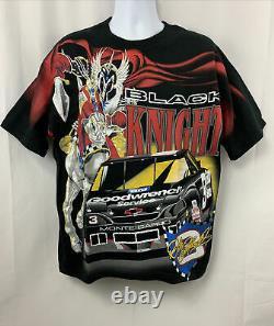 Vintage Années 90 Dale Earnhardt Sr Nascar Racing Black Knight All Over Print Shirt L