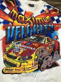 Vintage Dale Earnhardt Peter Max All Over Print Nascar Racing T-shirt Taille XL
