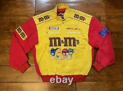 Vintage Ernie Irvan #36 M&ms Racing Jacket Taille Homme Taille Moyenne Nascar Jh Rare