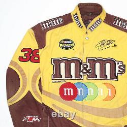 Vintage M&m Nascar Racing Jaune 80s Woven Bomber Veste Hommes L