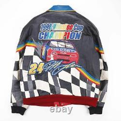 Vintage Rare 1998 Nascar Jeff Hamilton Leather Racing Jacket Homme Taille Grand