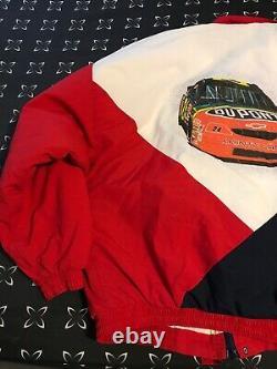 Vintage Rare Jeff Gordon Nascar Dupont Rainbow L Racing Veste / Zone De Vitesse De Manteau