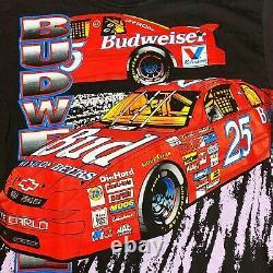 Vtg Rare Nascar Budweiser Racing All Over Print T Shirt. Mens Grand