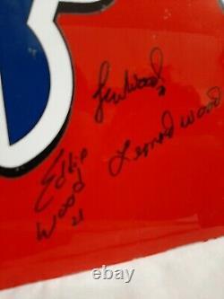 Wood Brothers Racing Autographié Bill Elliott Race Feuille D'occasion Métal Nascar #21